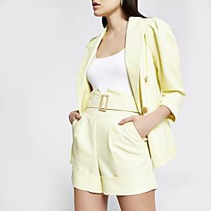 Short ceinturé à taille haute corset jaune