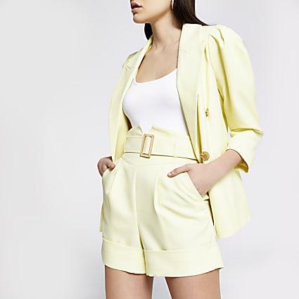 Yellow high corset belted waist shorts