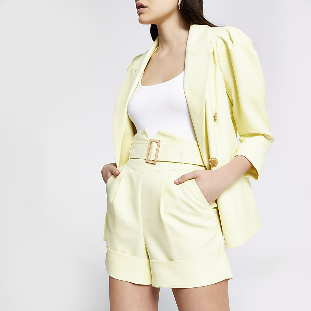 Yellow high corset belted waist shorts