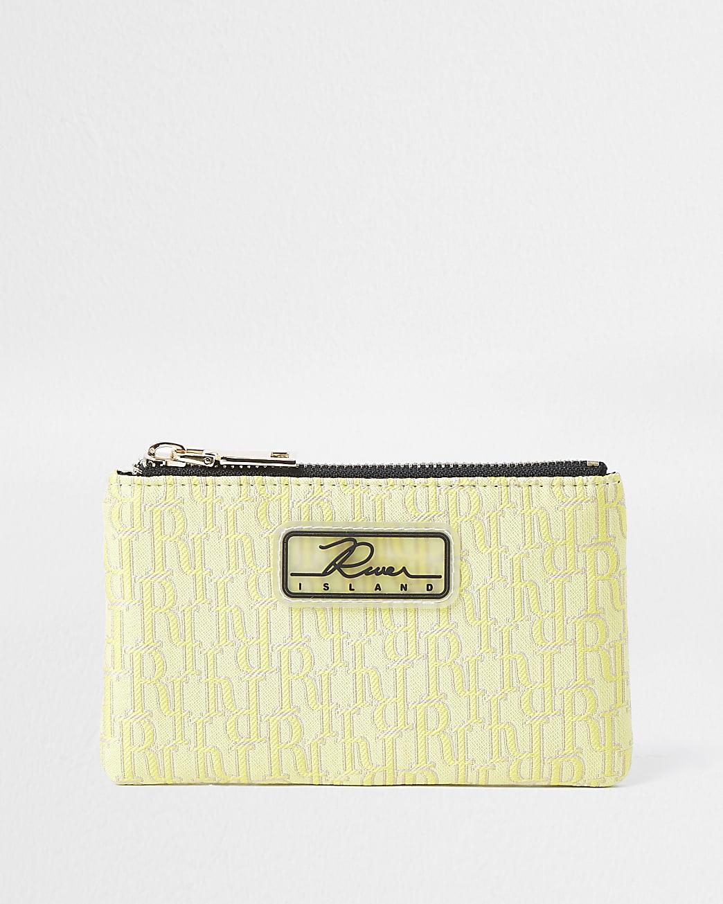 Yellow jacquard mini zip pouch purse