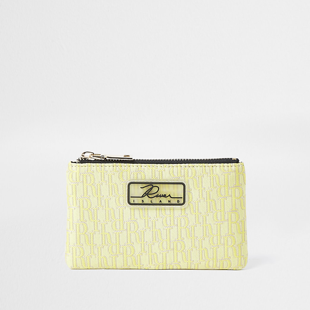 Yellow jacquard mini zip pouch purse