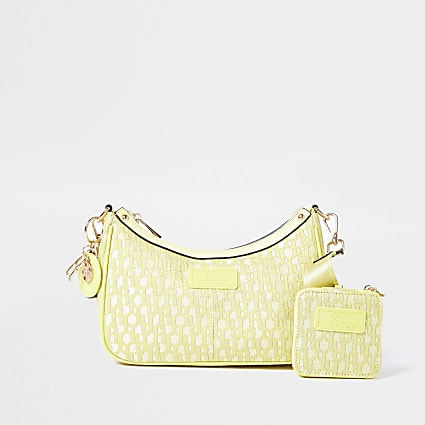 Yellow jacquard RI cross body bag & pochette