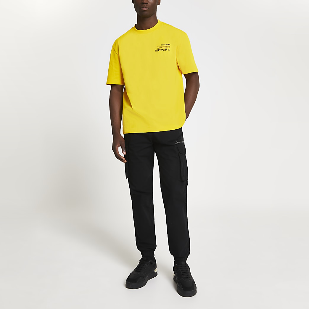 Yellow Japanese back print oversized t-shirt