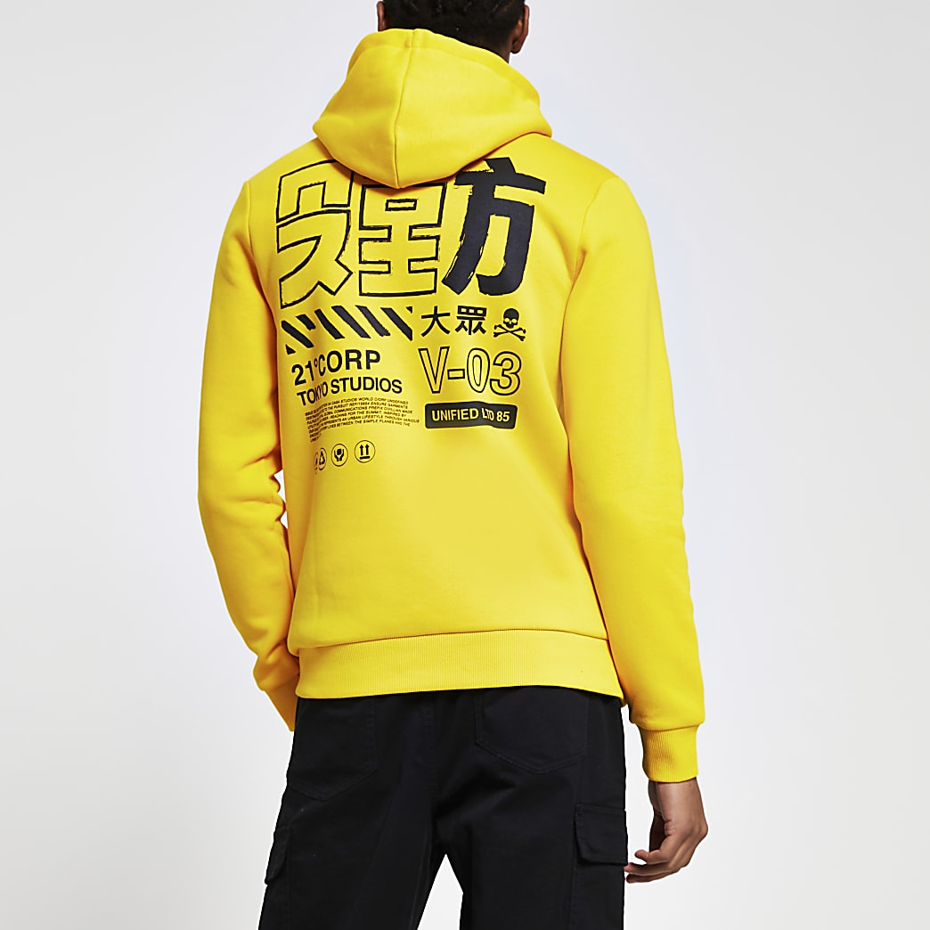 Yellow Japanese back print slim fit hoodie