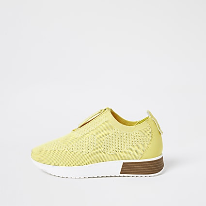 Yellow knitted sock runner trainers