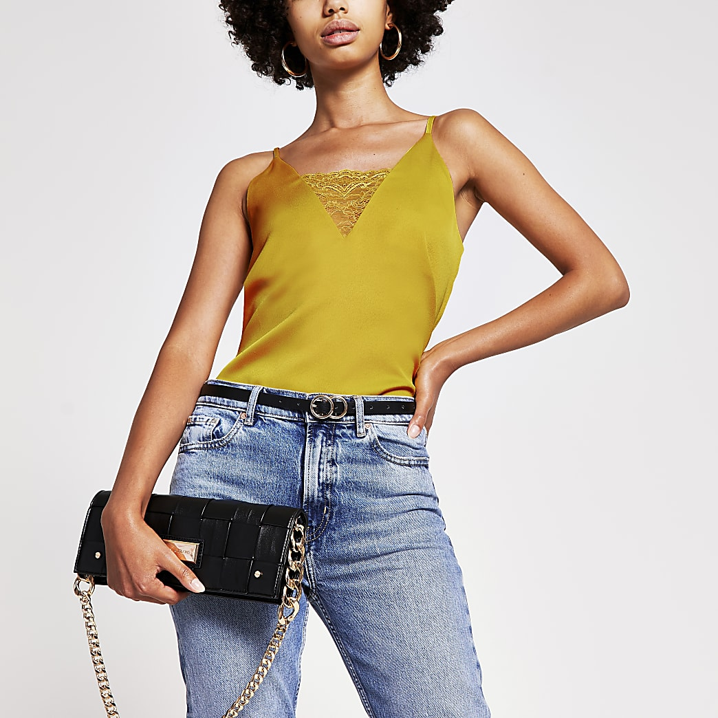 Yellow lace cami top