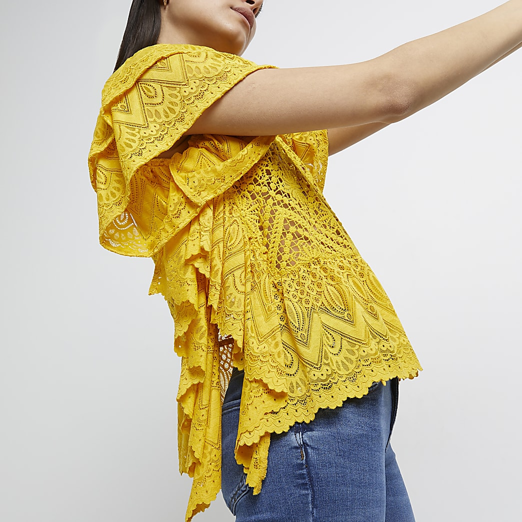 Yellow lace frill top