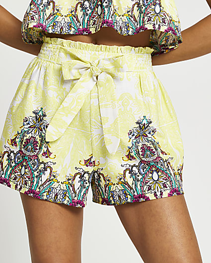 Yellow lace print tie front shorts
