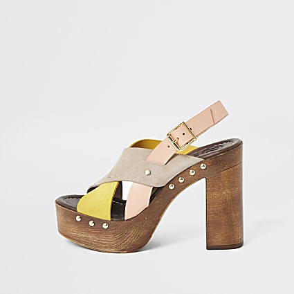 Yellow leather cross strap platform sandals