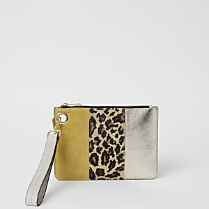 Yellow leather leopard print block clutch bag