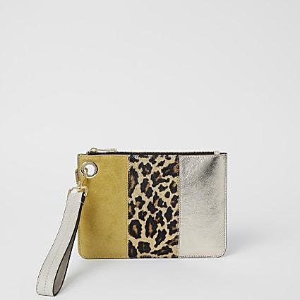 Yellow leather leopard print clutch handbag