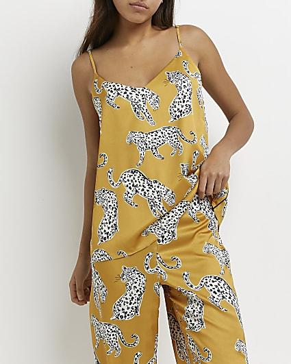 Yellow leopard printed pyjama cami top