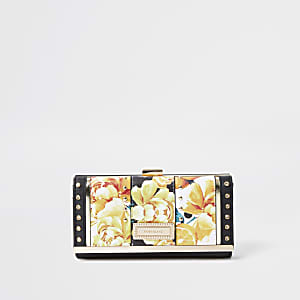 Yellow light floral print cliptop purse