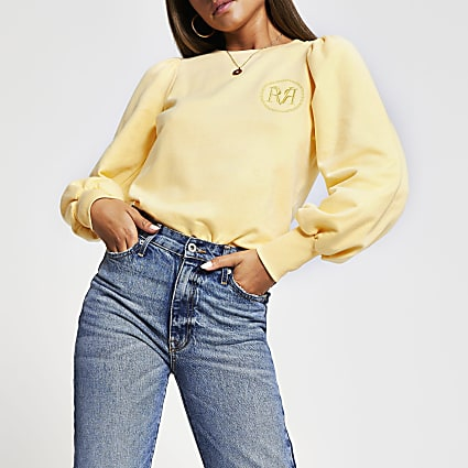 Yellow long puff sleeve 'RR' sweatshirt