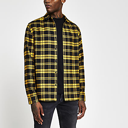 Yellow long sleeve check print shirt