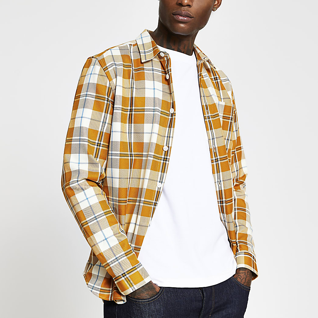 Yellow long sleeve check regular fit shirt