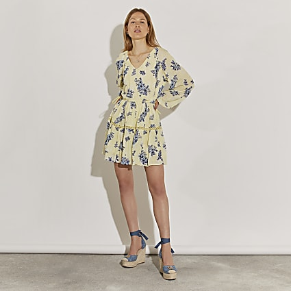 Yellow long sleeve floral broderie dress