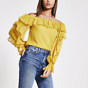 Top Bardot à manches longues et volants jaune