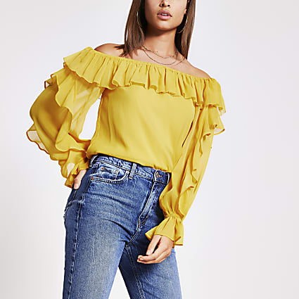 Yellow long sleeve frill bardot top