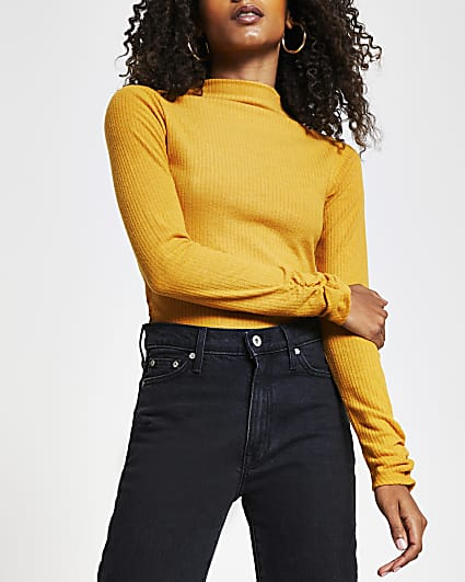Yellow long sleeve high neck ribbed top