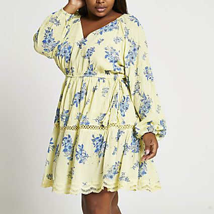 Yellow long sleeve printed broderie dress