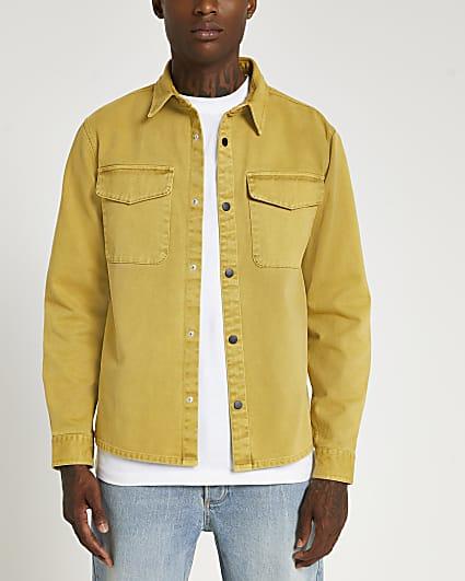 Yellow long sleeve shacket