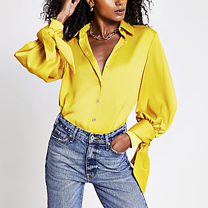 Yellow long sleeve tie cuff shirt