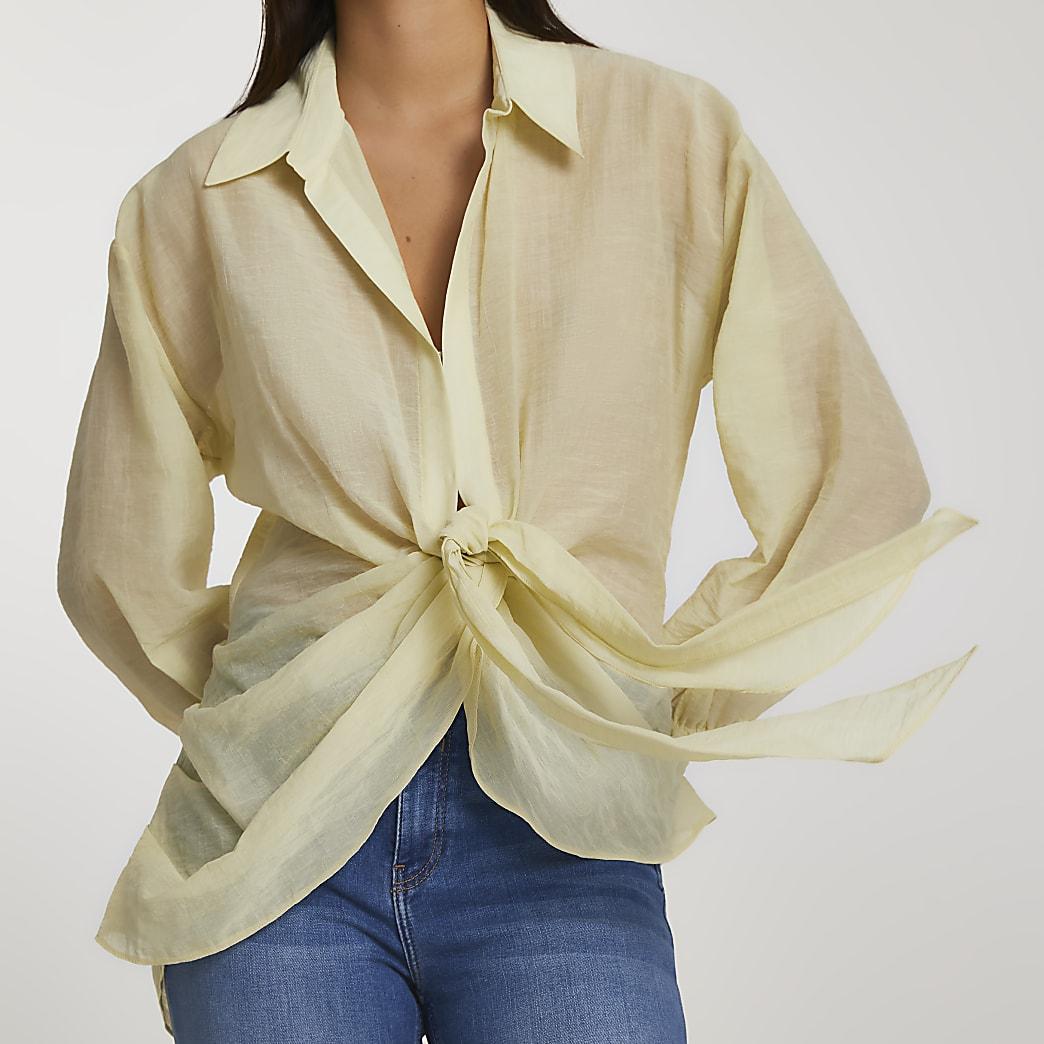 Yellow long sleeve twist tie front shirt
