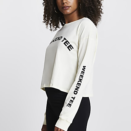 Yellow long sleeve weekend cropped t-shirt