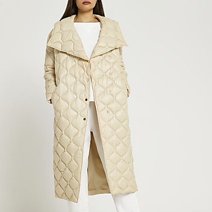 Yellow longline quilted padded coat
