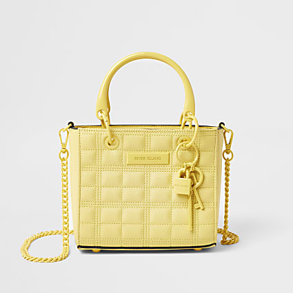 Yellow mini tote cross body handbag
