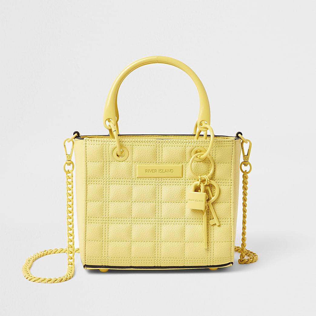 Yellow mini tote cross body handbag
