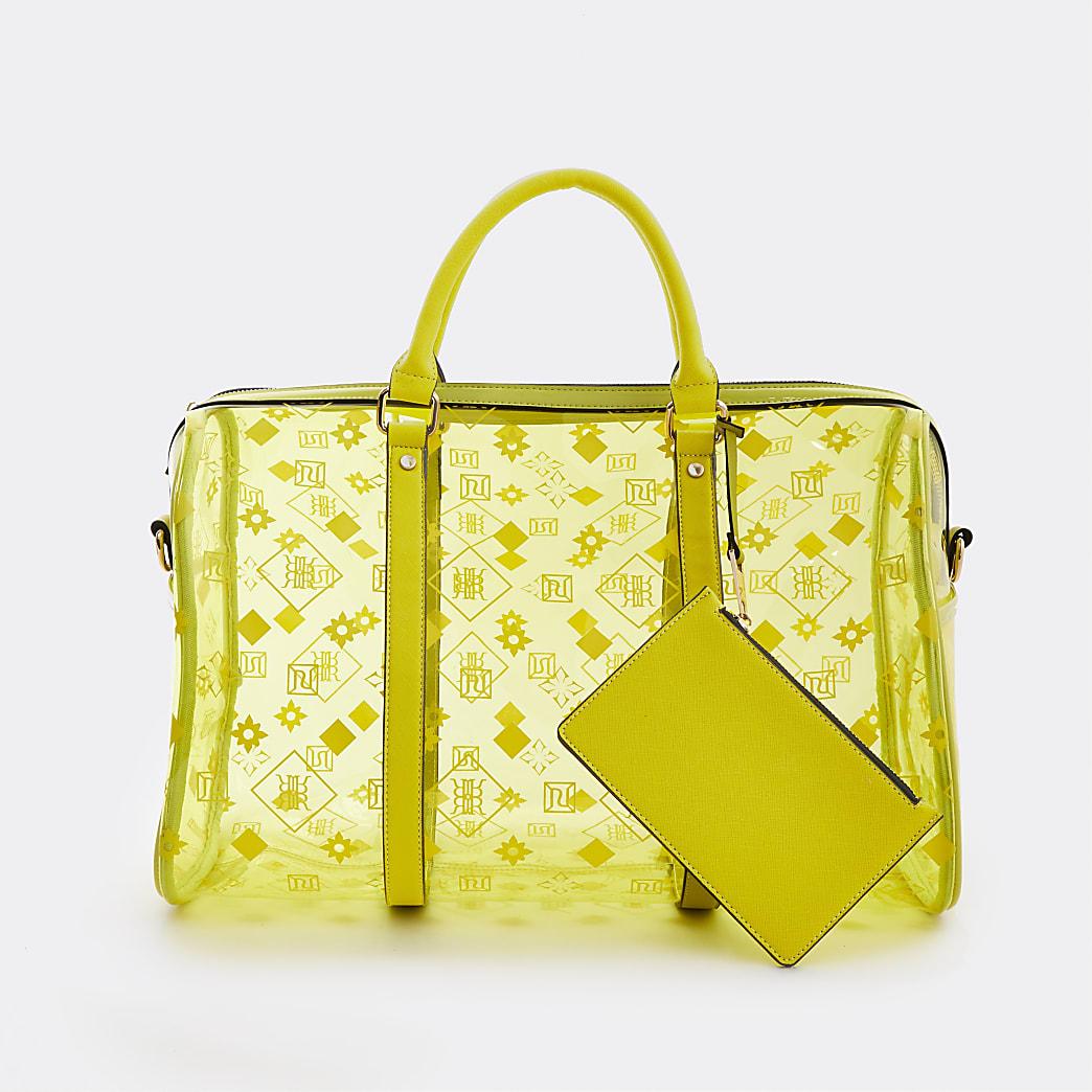 Yellow monogram perspex barrel bag