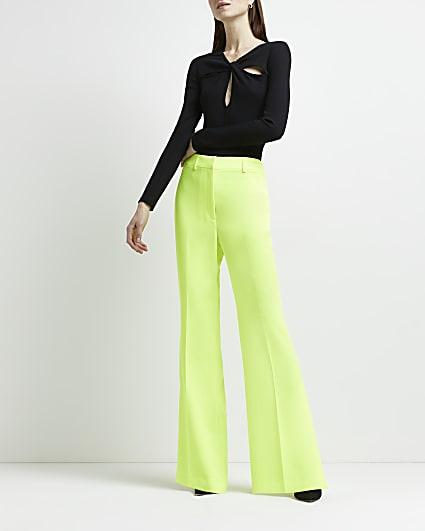 Yellow neon side split flared trousers
