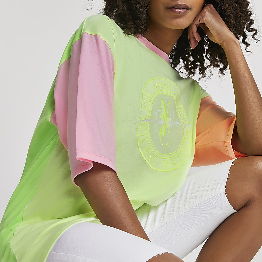 Yellow 'NYC' neon oversized t-shirt