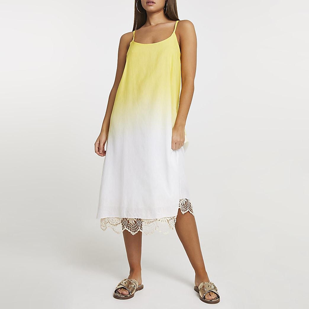 Yellow ombre crochet midi beach dress