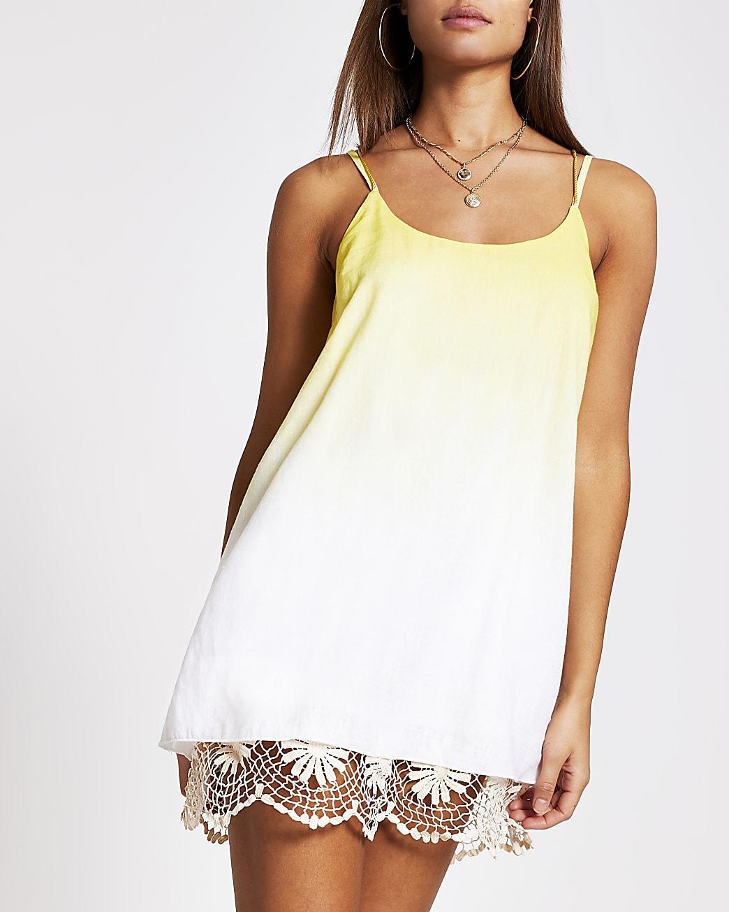 Yellow ombre crochet mini beach dress