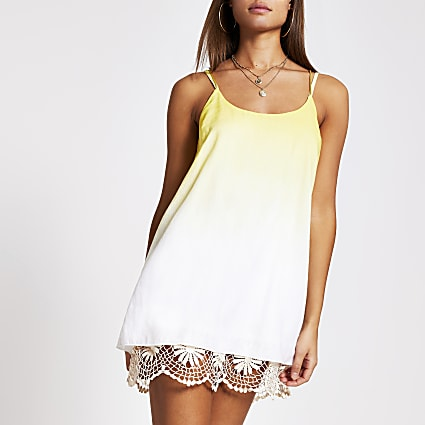 Yellow ombre crochet mini beach dress