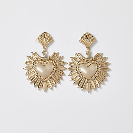 Yellow oversized heart drop earrings