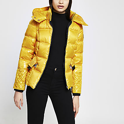 Yellow padded cinched waist coat