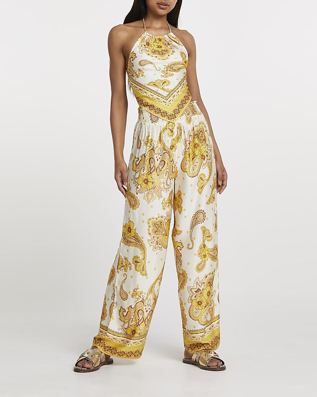 Yellow paisley print wide leg trouser