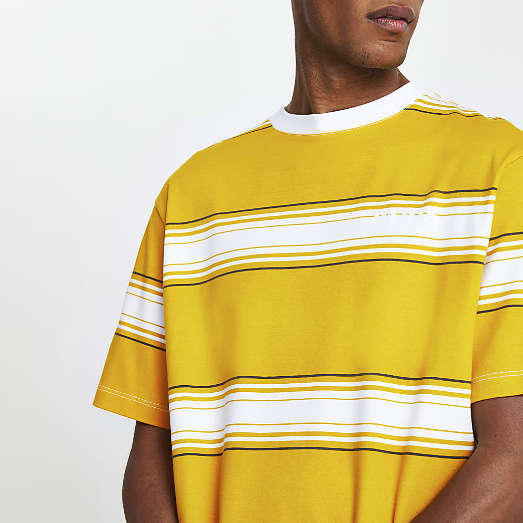 Yellow 'Paris' stripe short sleeve t-shirt
