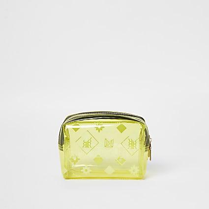 Yellow patent perspex make up bag