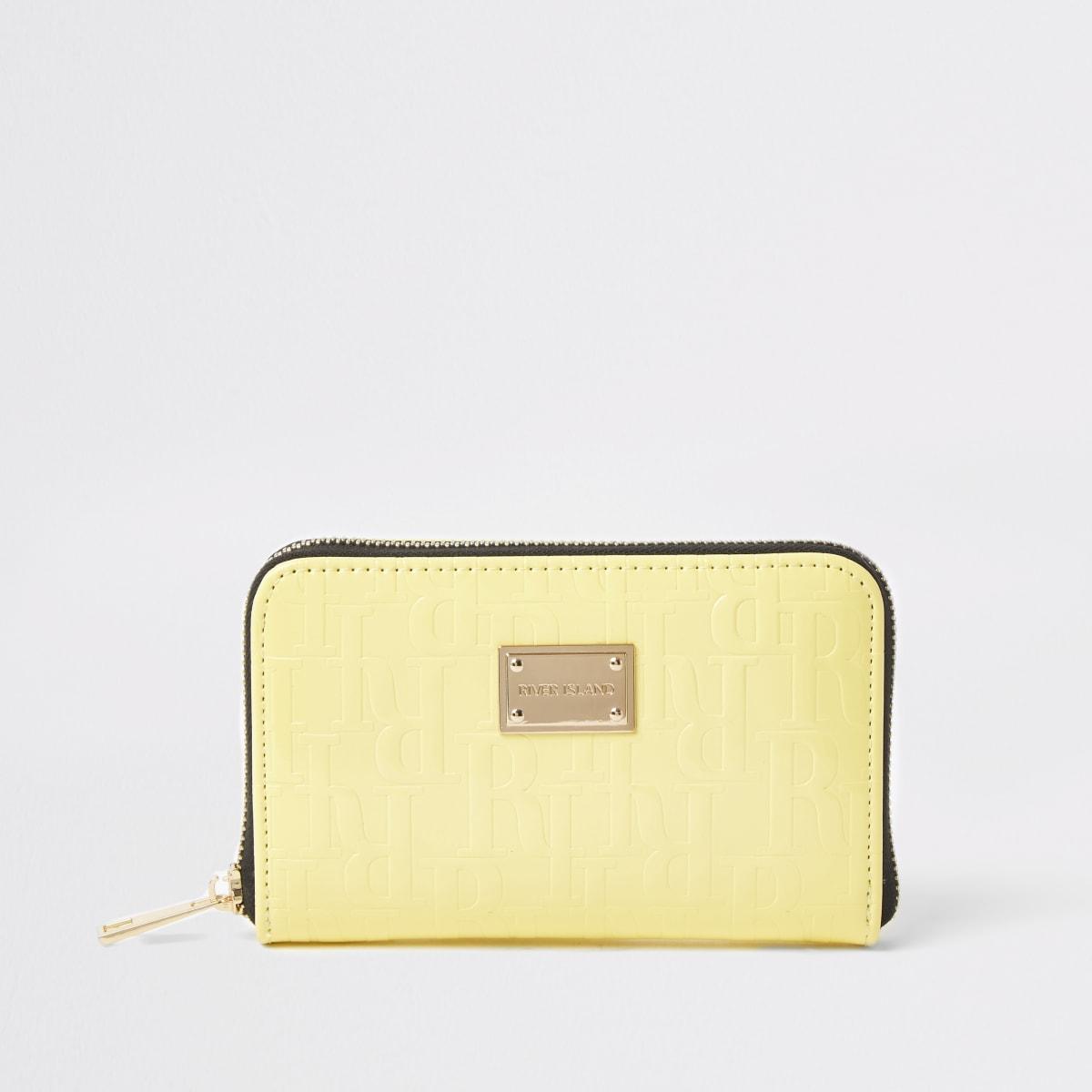 Yellow patent RI embossed zip around purse