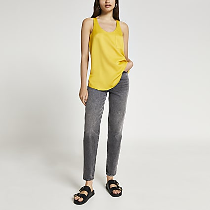 Yellow pocket vest top