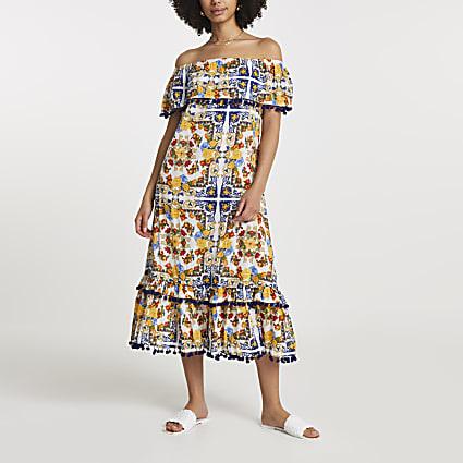 Yellow print bardot maxi dress