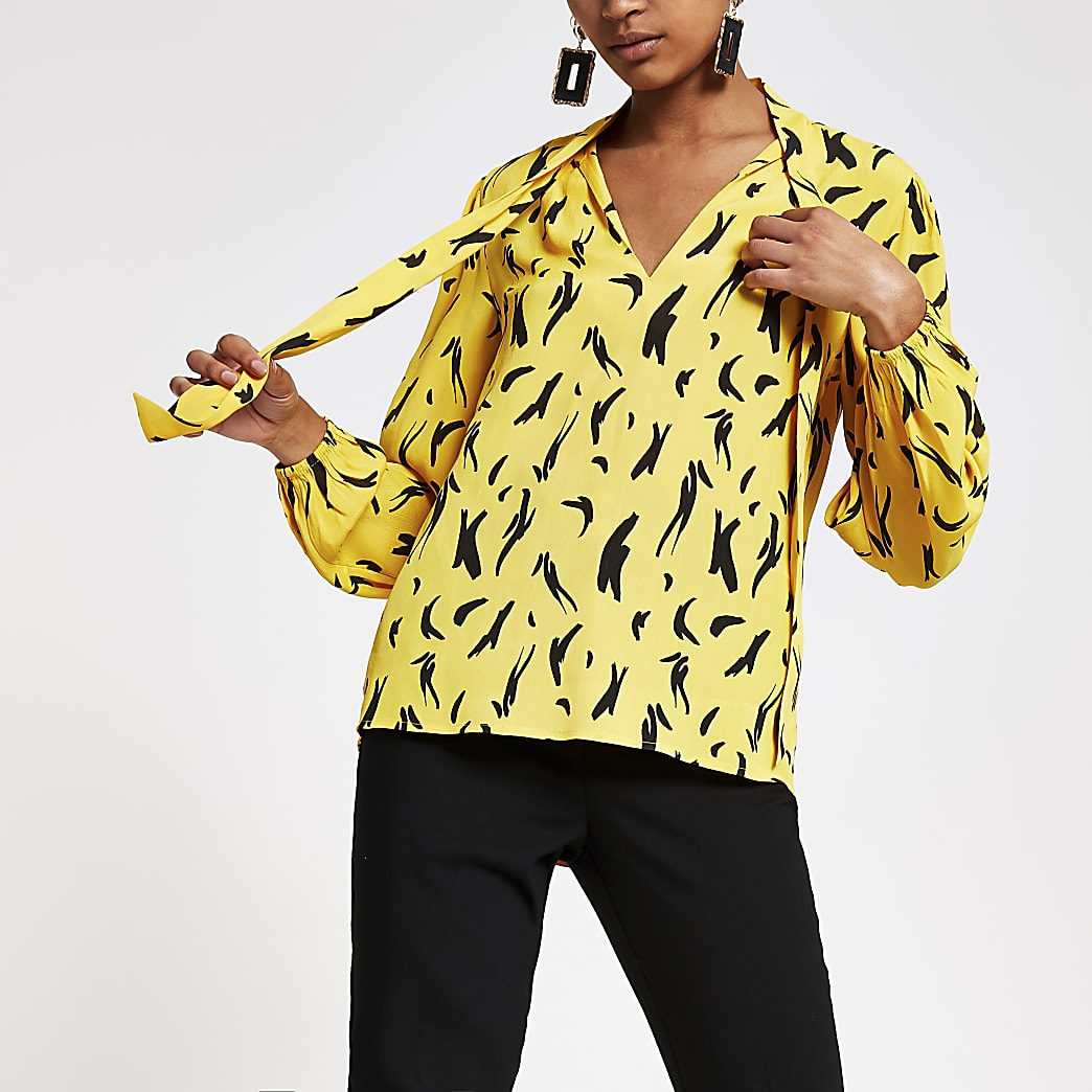 Yellow print tie neck long sleeve blouse