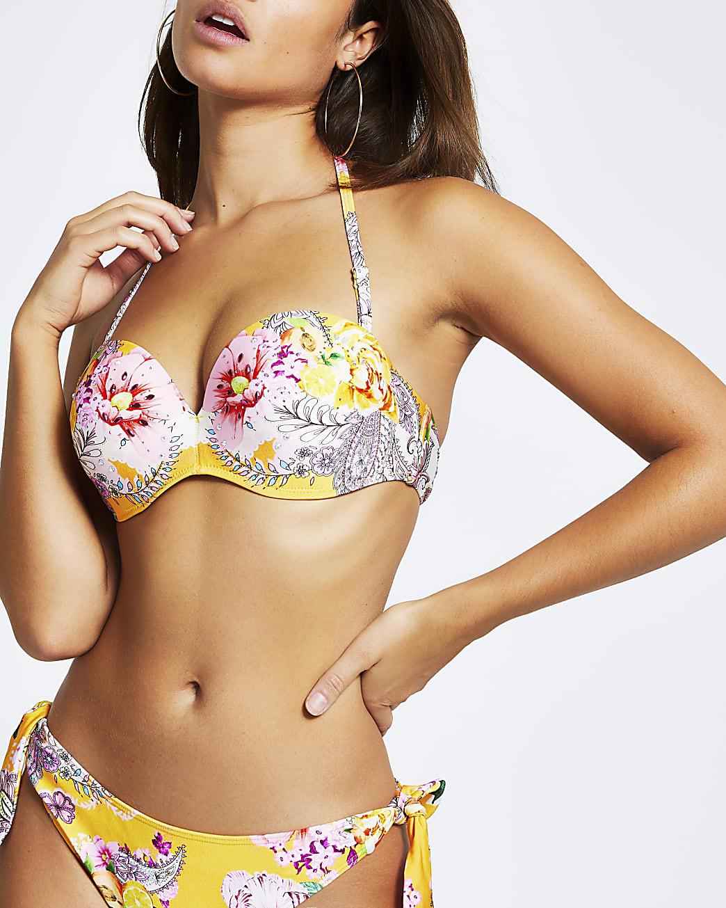 Yellow printed push-up balconette bikini top