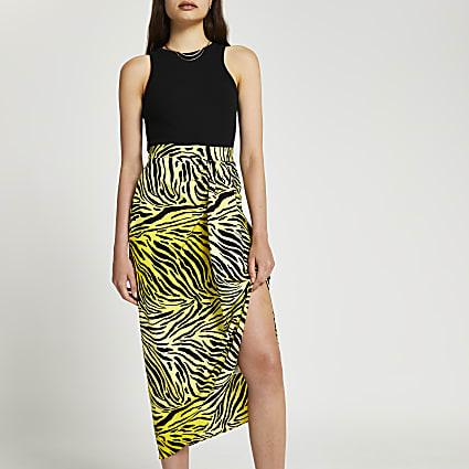 Yellow printed twist midi skirt