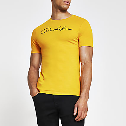 Yellow Prolific short sleeve muscle t-shirt